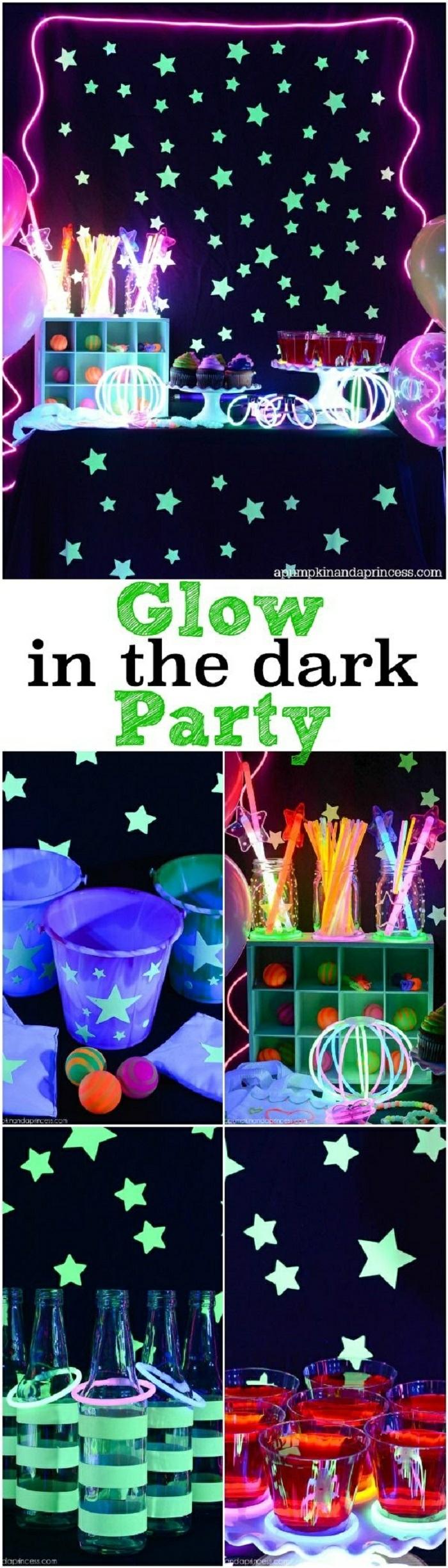 18 geburtstag deko idee, glow in the dark party zu hause veranstalten, leuchtende dekorationen, sterne, tassen, strohhalme