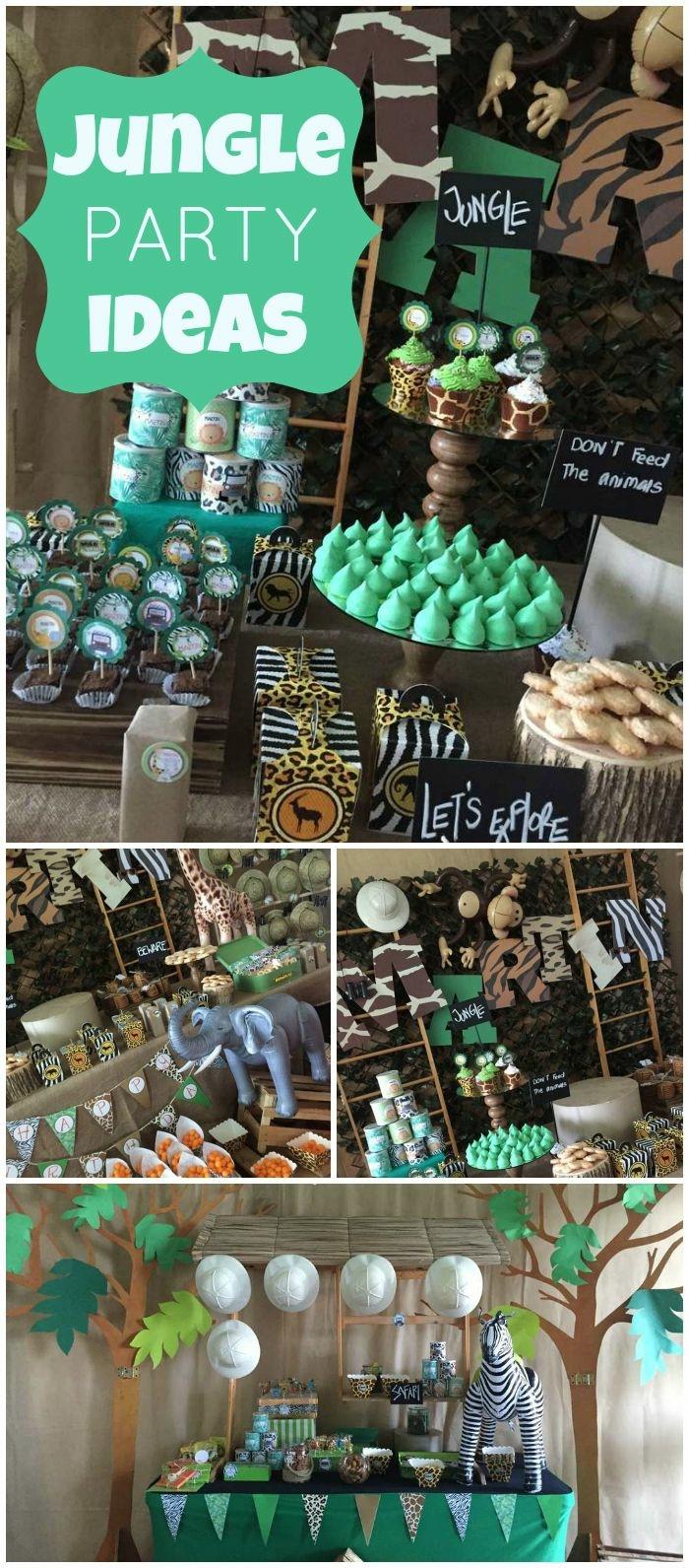 18 geburtstag deko alles in grün wie in einer dschungel, deko und essen ideen, muffins
