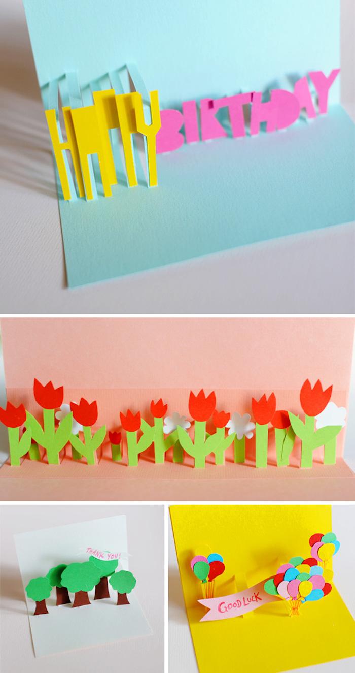 basteln mit papier, pop up karte basteln, rote tuplen aus papier, papierblumen, bunte luftballons