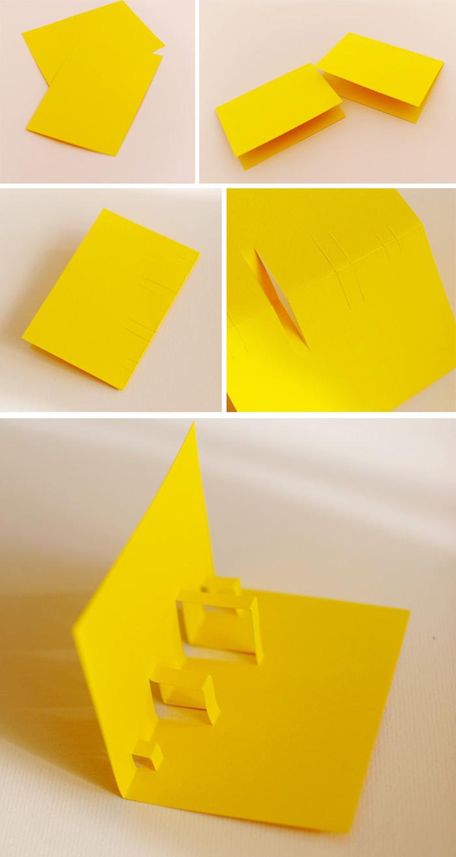 pop up karte basteln mit papier, gelber pappe, klappkarte selber machen, anleitung in bildern