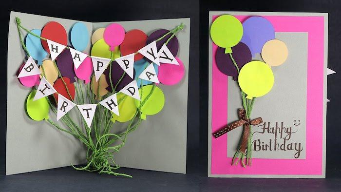 pop up karte basteln, bunte 3d luftballons, grüner garn, braune schleife, selbstgemachte geburtstagskarte