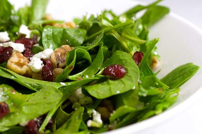Sommersalate Rezepte in grüner Farbe mit Walnüssen und Gojibeeren als Dekoration