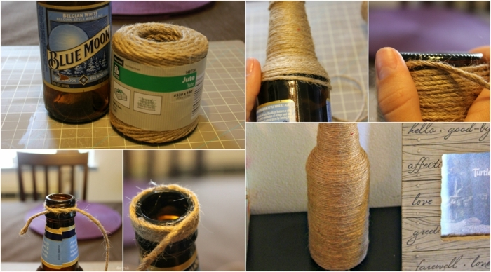 in sechs Schritte zeigen, wie man eine Flasche einpacken kann, Flasche, Schnurr und Klebstoff