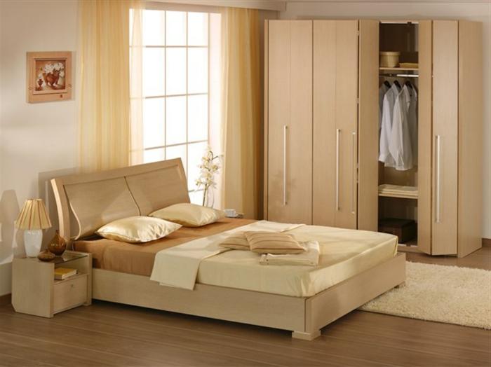 helles zimmerdesign, farben für schlafzimmer weiß, rosa, beige, elegante einrichtung, großer kleiderschrank