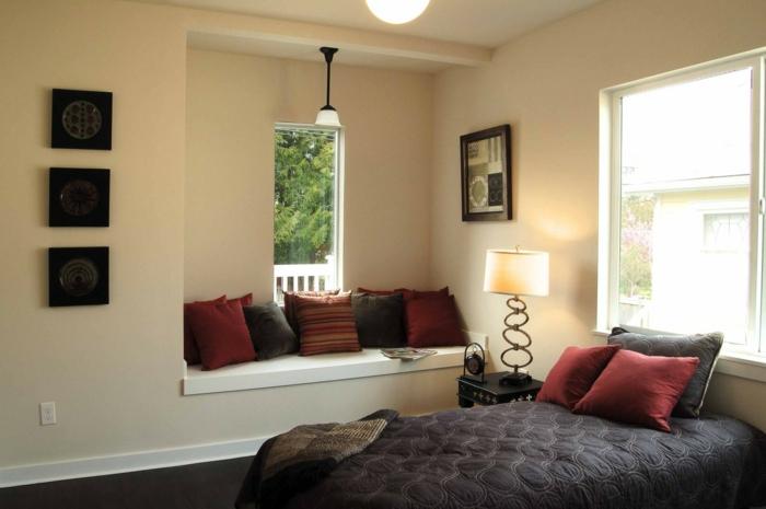 helles zimmer mit dunklen möbeln, balance im raum, farben für schlafzimmer