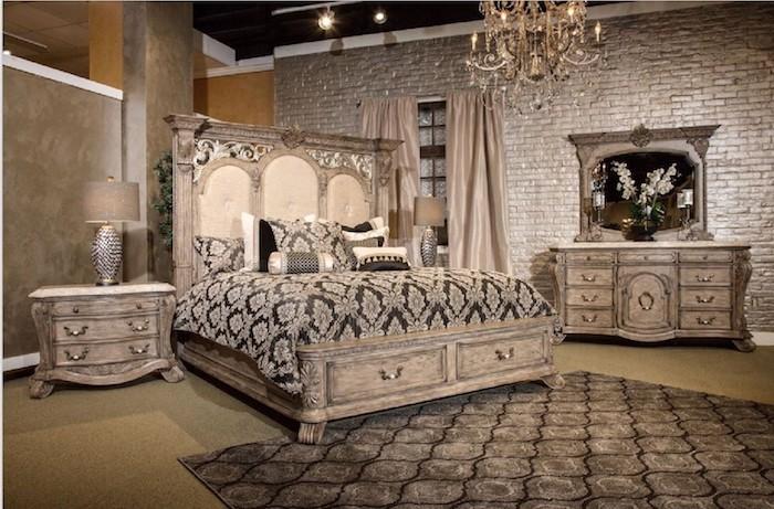 schlafzimmer ideen braun, beige, gelb, schwarz, ideen, robuster stil, teppich auf dem boden