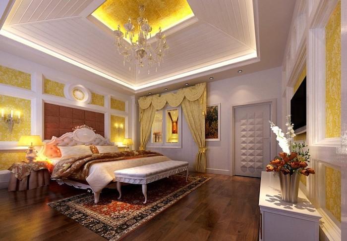 zimmer einrichten in arabischer stil, orientalisches zimmer, gelbe dekorationen, teppich, blumen