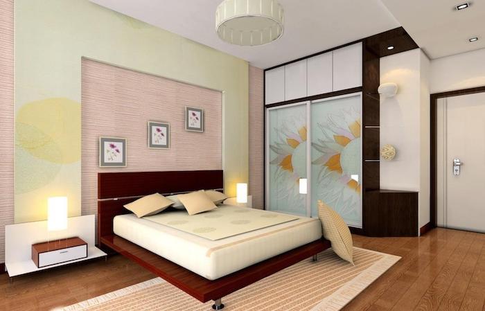 schlafzimmer einrichten beispiele, einrichtung in pastellfarbern, pastel, rosa, grün, blau, orange, teppich pfirschfarbe