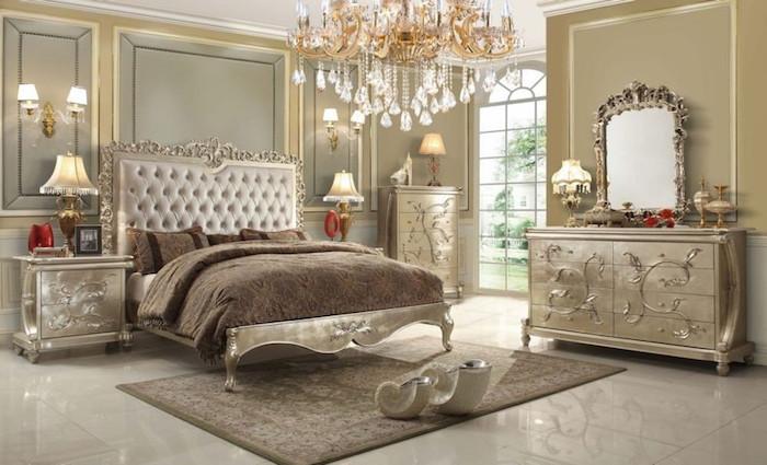 zimmer deko ideen, auserlesenes design, doppelbett in beige, braun, hellblau, luxuseinrichtung ideen
