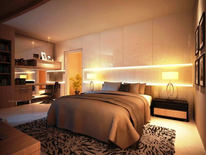 luxusgestaltung von einem feng shui bett, samt und seide, traumteppich, beleuchtung im schlafzimmer