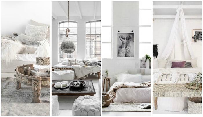 schlafzimmer einrichten ideen in wei0 und hellgrau, dezente einrichtung mit stil, arabischer style, marokkanische lampe, bodenkissen