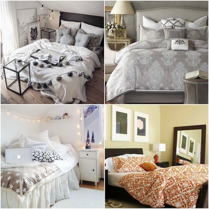 wandgestaltung schlafzimmer, vier ideen auf einmal, schöne collage, bettdesigns, bettwäsche, lampen
