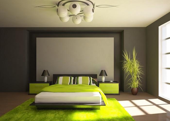 schlafzimmer grau mit grünen akzenten, grün und grau zu einem erholsamen und schönen flair zu hause, grüne pflanze, doppelbett
