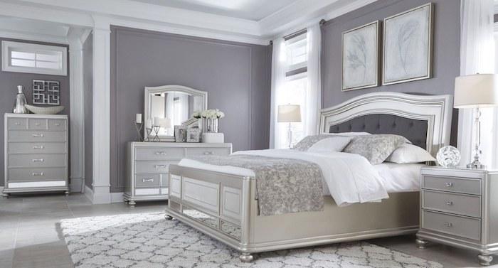 wandfarbe türkis anstelle von grau, würden sie das im schlafzimmer nehmen, grau weißes zimmer elegant, schön