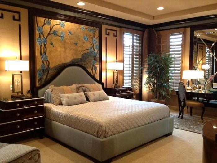 bett deko in orientalischem stil, style asiatisch, lampen, dezente beleuchtung, schlafkomfort