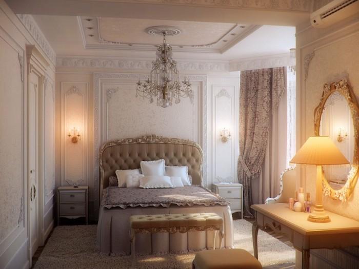 schöne schlafzimmer in prächtigem stil, luxusmöbel und dekorationen, lampe, spiegel, schminktisch