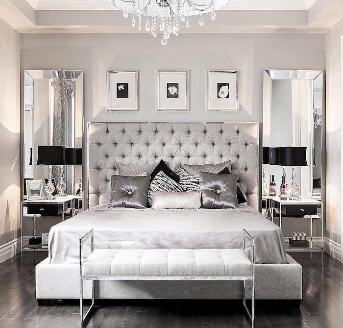 schöne schlafzimmer in kalten farben, weiß und silbern kombinieren, graues zimmer, ideen wandbilder