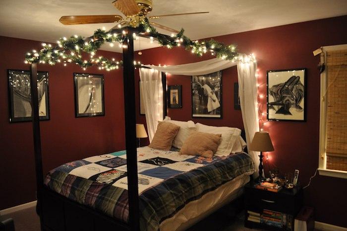 schöne schlafzimmer patchwork decke, decke selber machen und als dekoration nutzen, lichtkette