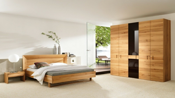 schlafzimmer farben feng shui, schlafzimmerdesign, bett und kleiderschrank, großer raum