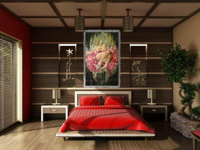 erdnuancen, schlafzimmer farben feng shui, rot, braun, grün, wandbild, grüne pflanze