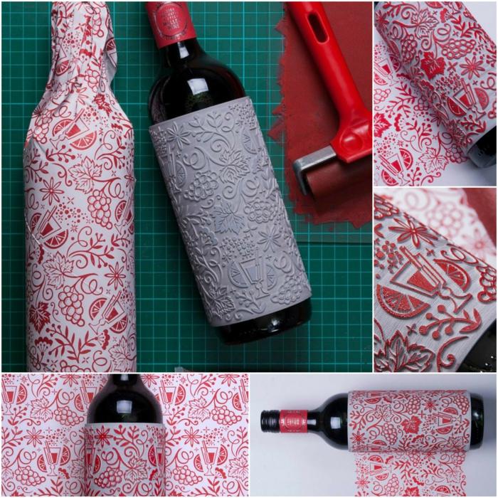 eine Anleitung wie Sie aus Flasche eine andere Flasche einpacken, in fünf Schritten