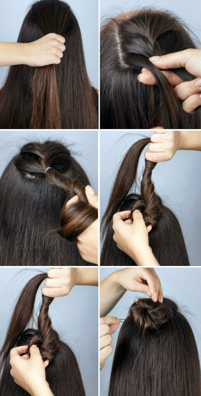 schnelle frisuren für lange haare, haarfabe mahagoni, halber dutt, alltagsfrisur, frisurenideen