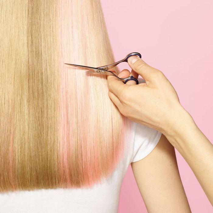 schnelleres haarwachstum, metallene schere, blonde haare mit rosa strähnen, schneiden