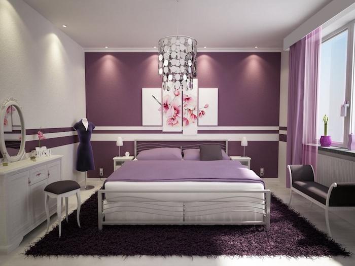 zimmer einrichten ideen in violett, die farbe der ruhe, harmonie und leidenschaft, schöne wandbilder