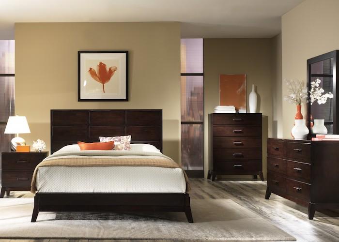 schlafzimmer modern dekorieren in warmen farben, orange, beige, weiß, braun, wanddeko bild mit blatt
