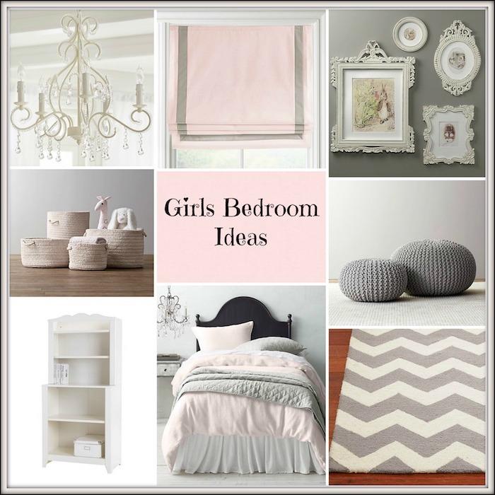 mädchen schlafzimmer ideen wandgestaltung, alles weiß, rosa und grau, lampe, wandbilder, bettwäsche, teppich, bodenkissen. sitzkissen