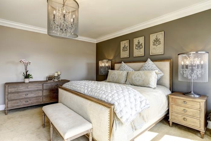 schlafzimmer ideen wandgestaltung in grau mit kreativen wandbildern, schlafzimmer schubladen