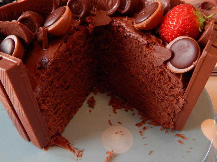 Schokolade Toffifee Kuchen, sechs Boden aus Schokolade, Toffifee Pralinen als Dekoration