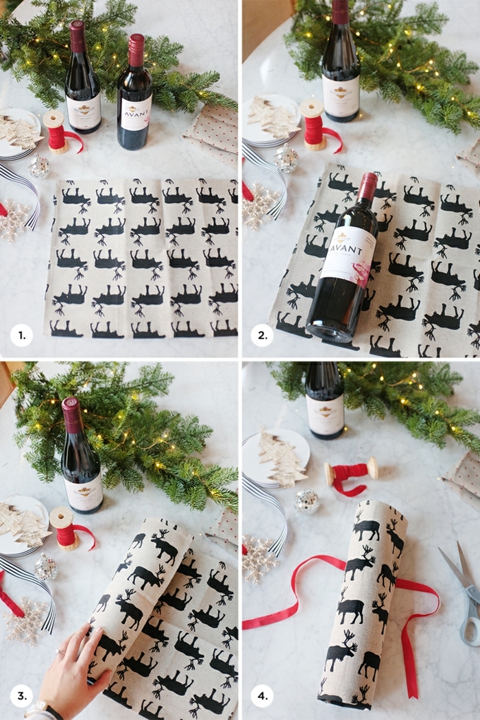 vier Bilder mit Anleitung, wie die Flasche mit dem Rentier Motive zu verpacken, Flasche als Geschenk verpacken