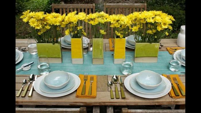 gelb und blau deko für 18 geburtstag, tischdeko zum geburtstag ideen zum nachmachen