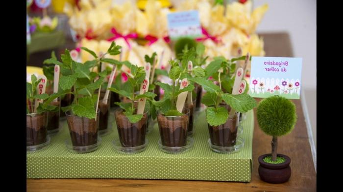 deko für 18 geburtstag, das essen selbst als deko verwenden, idee mit schokolade und fondant, kleine busche gestalten
