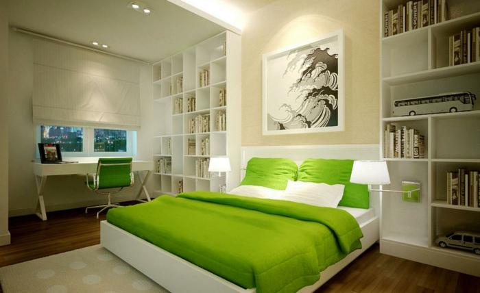grüne und weiße schlafzimmer farben feng shui, viele kleine regale an der wand, kreative gestaltung