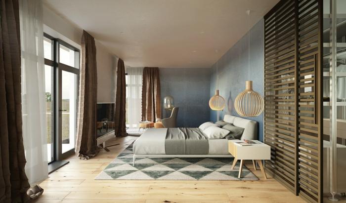 schlafzimmer farben feng shui, zimmergestaltung schön und angenehm, vorhänge zweischichtig braun und weiß