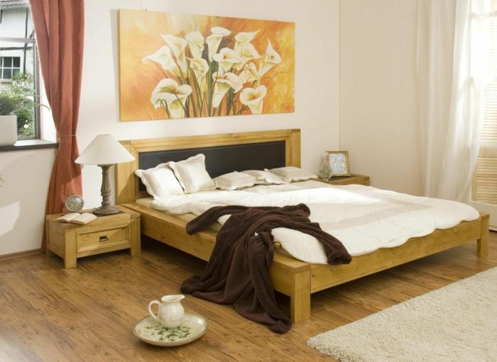 schlafzimmer bild über bett, weiße blumen, wanddeko bild ideen zur zimmergestaltung