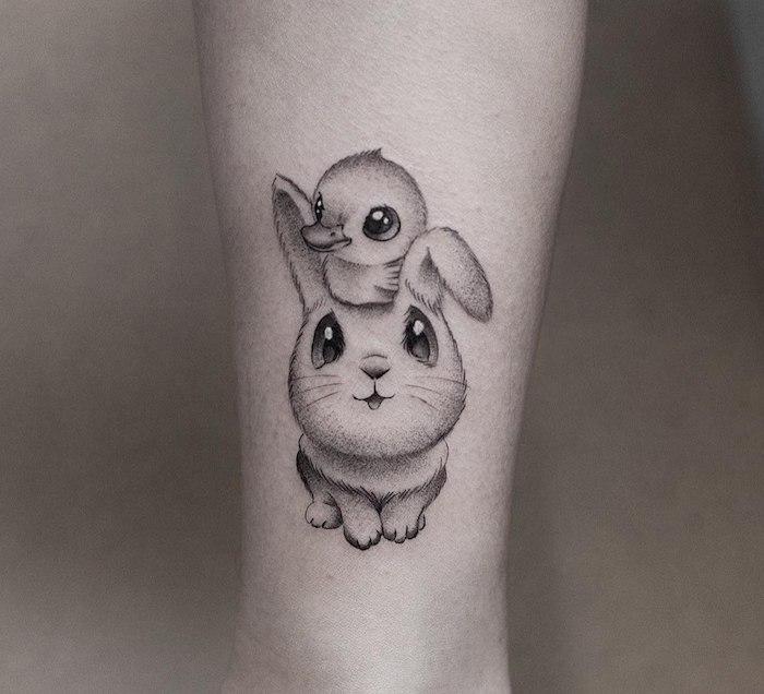 Süßes Tattoo Motiv, Kaninchen und Entchen, weibliche Tattoos