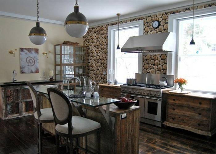 eine Küche in Landhausstil, Tapeten mit Naturholz optik, Wandgestaltung Ideen selber machen