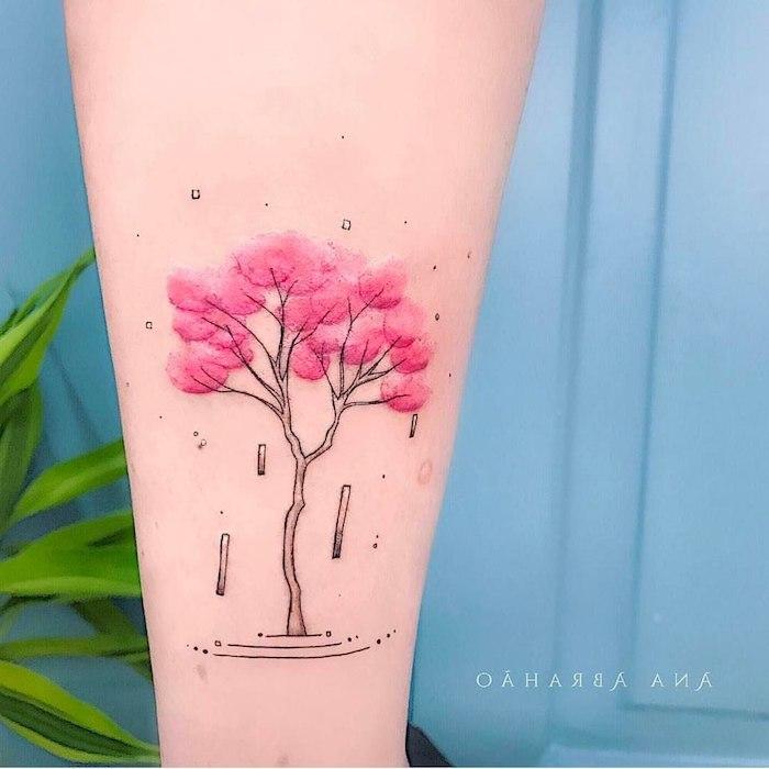 Idee für farbiges Tattoo, blühender Baum in Rosa, Bein Tattoos für Frauen