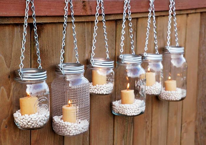 deko geburtstag kerzen in glas, kreative idee, mit weien bohnen und kerzenkalter