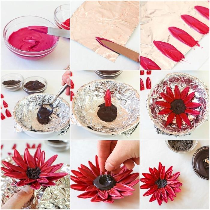 Rote Blume aus Candy Melts und Schokolade selber machen, Idee für Tortendekoration