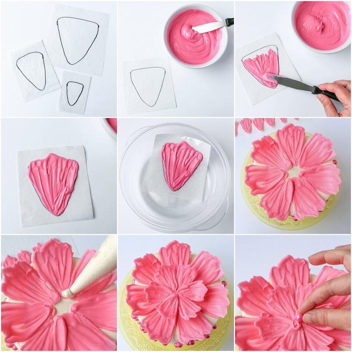 Blume aus Candy Melts selber machen, Anleitung in neun Schritten, rosa Blütenblätter und Zuckerperlen