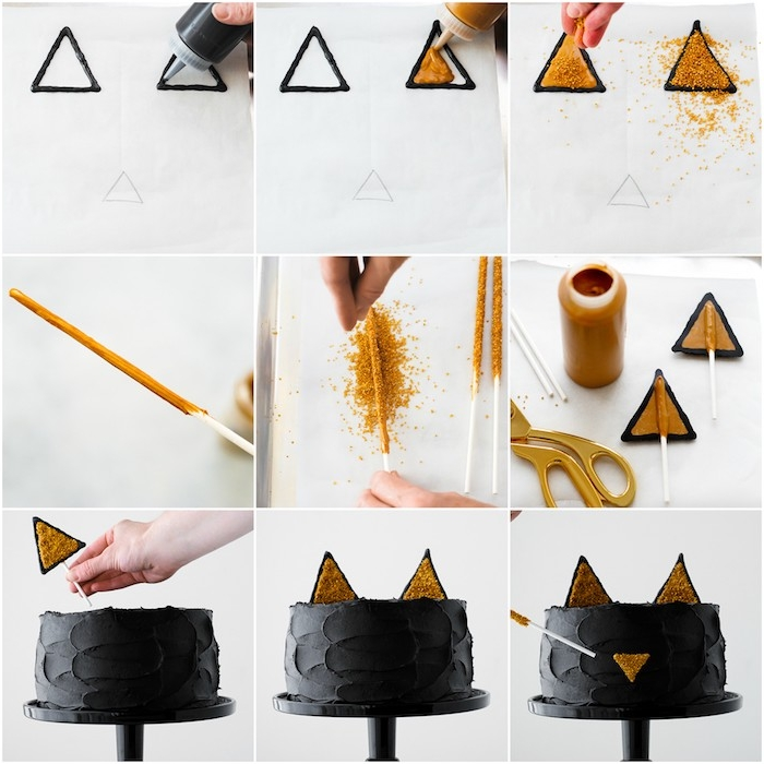Halloween Torte selber zubereiten, schwarze Katze, goldene Ohren und Nase