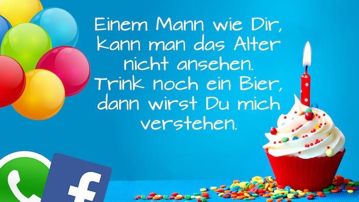 whatsapp und facebool logos, viele bunte ballons, ein lustiges bild mit einem geburtstagswunsch und einem klöeinen roten muffin mit einer roten kerze