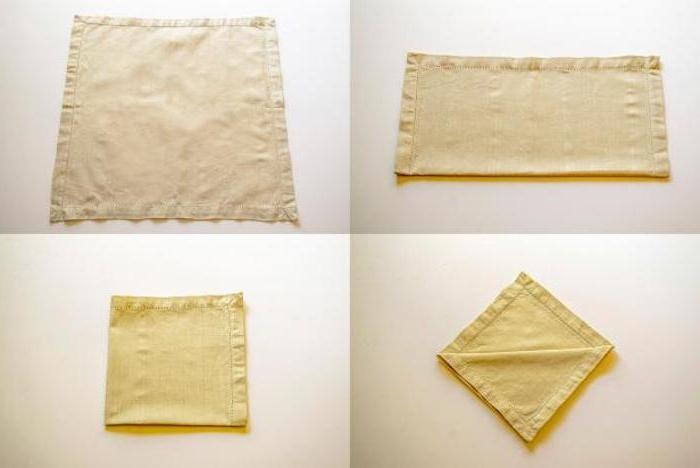 eine diy anleitung in vier schritten, servietten falten hochzeot, eine kleine gelbe gefaltete serviette