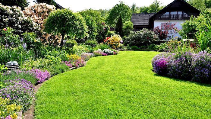 vorgarten deko, grüner graus, haus mit großem garten, bäume und pflanzen
