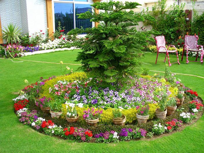 vorgarten deko, kreis aus kleinen blumen, blumentöpfe aus keramik, baum, gartendeko