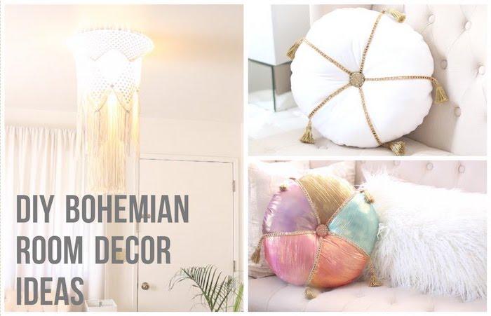 schlafzimmer modern einrichten und dekorieren mit runden kleinen kissen in arabischem stil, bohemian schlafzimmer
